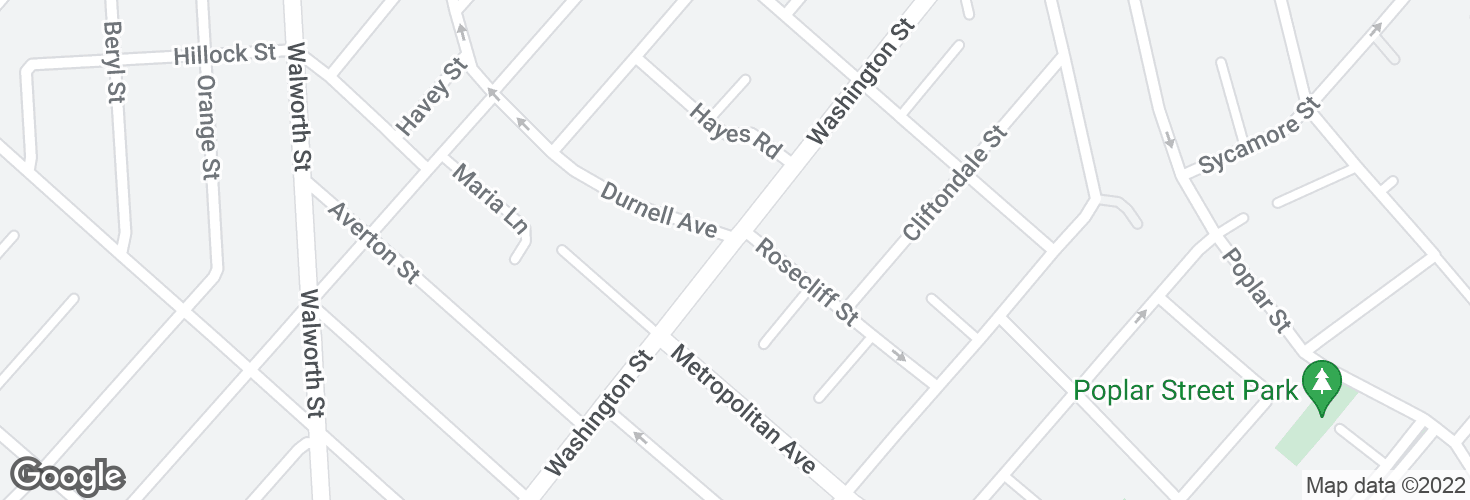 Map of Washington St @ Rosecliff St and surrounding area
