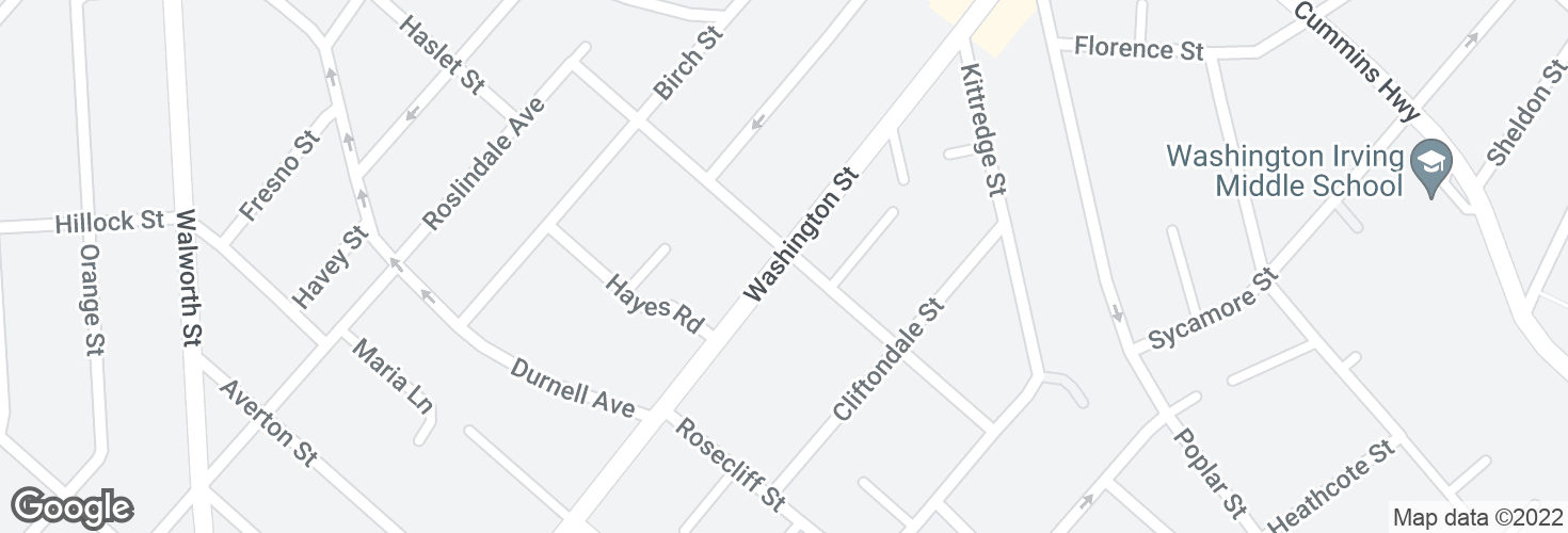 Map of Washington St @ Albano St and surrounding area