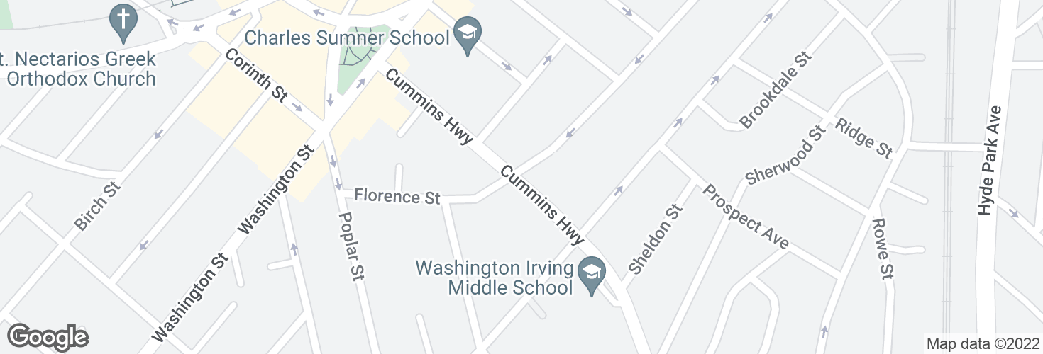 Map of Cummins Hwy @ Florence St and surrounding area