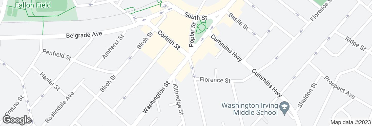 Map of Washington St @ Poplar St and surrounding area