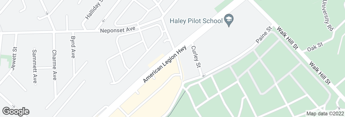 Map of American Legion Hwy @ Canterbury St and surrounding area