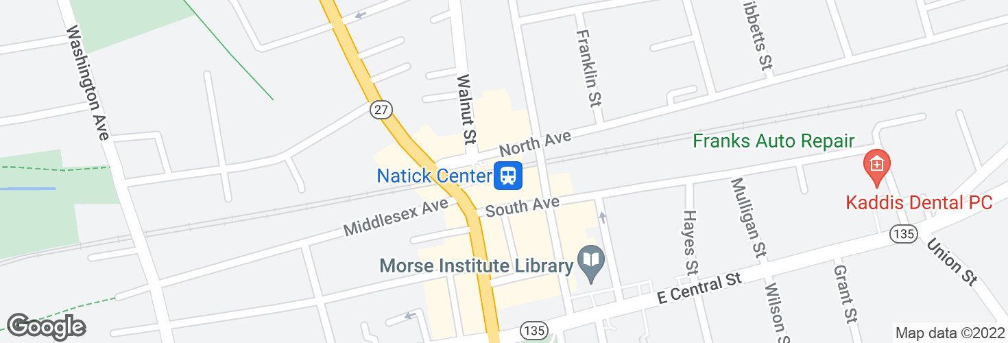 Map of Natick Center and surrounding area