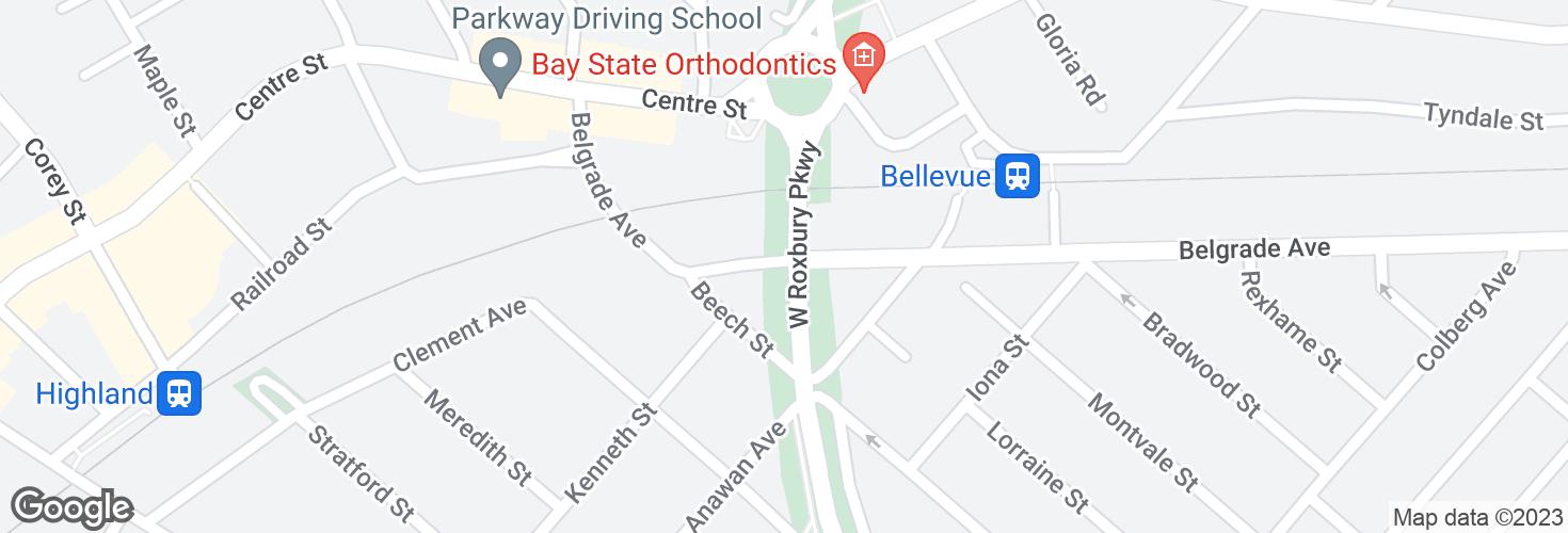 Map of Belgrade Ave @ West Roxbury Pkwy and surrounding area