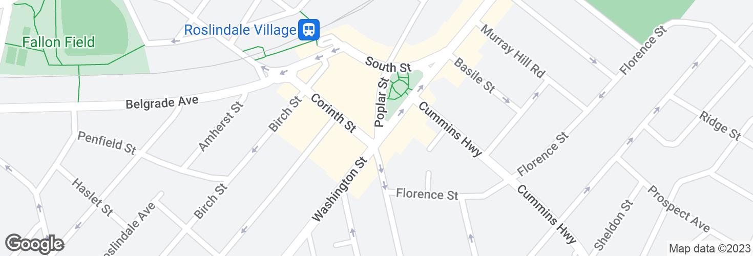 Map of Poplar St @ Washington St and surrounding area