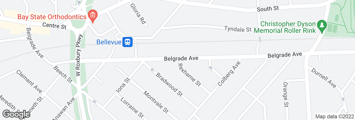 Map of Belgrade Ave @ Rexhame St and surrounding area