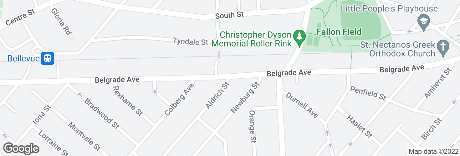 Map of Belgrade Ave @ Aldrich St and surrounding area