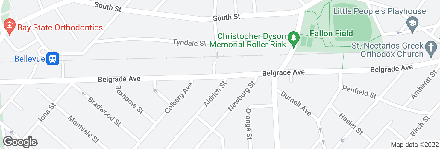 Map of Belgrade Ave opp Aldrich St and surrounding area