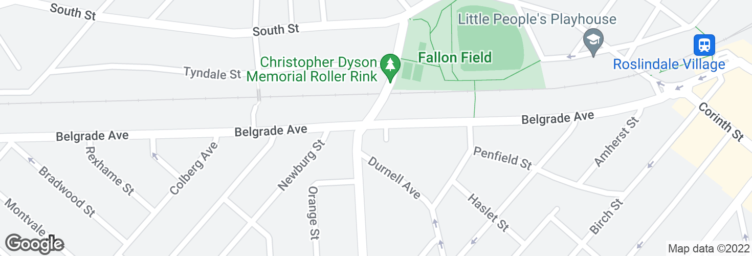 Map of Belgrade Ave @ Walworth St and surrounding area