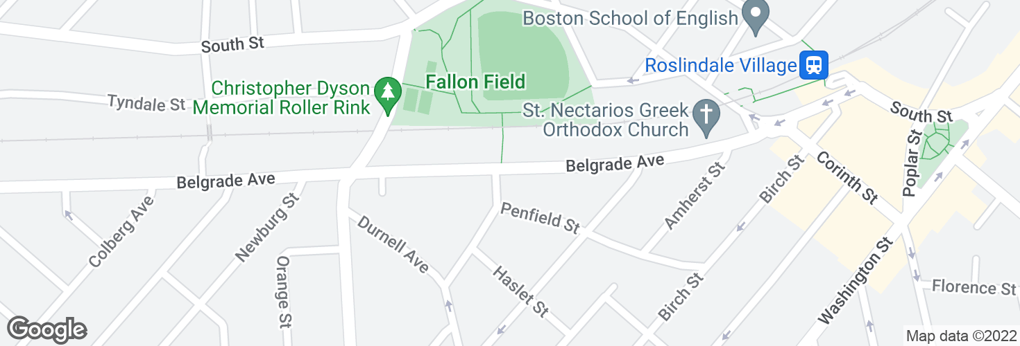 Map of Belgrade Ave @ Penfield St and surrounding area