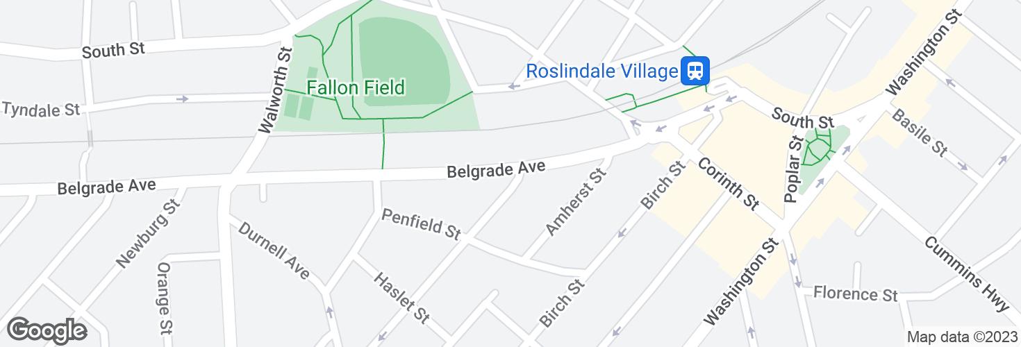 Map of Belgrade Ave @ Pinehurst St and surrounding area
