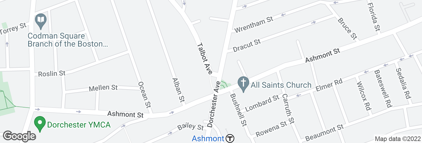 Map of Talbot Ave @ Dorchester Ave and surrounding area