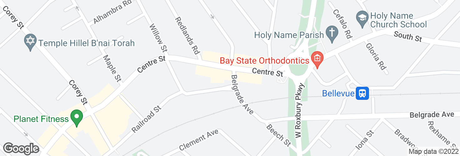 Map of Belgrade Ave @ Centre St and surrounding area