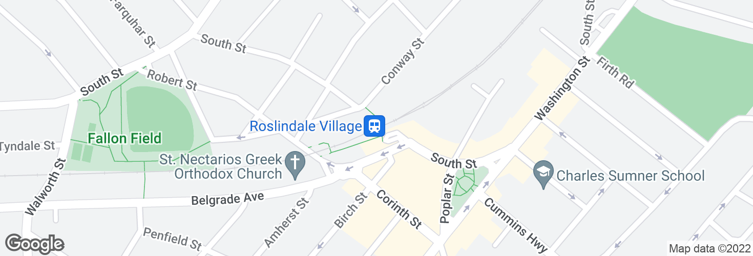 Map of Roslindale Village and surrounding area