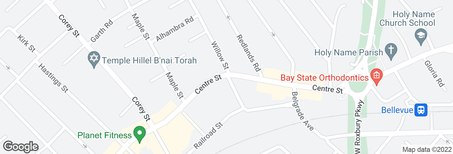 Map of Centre St @ Willow St and surrounding area