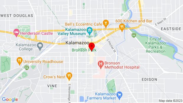 Google Map of Southeast Corner of South Street and South Kalamazoo Mall, Kalamazoo, MI 49007