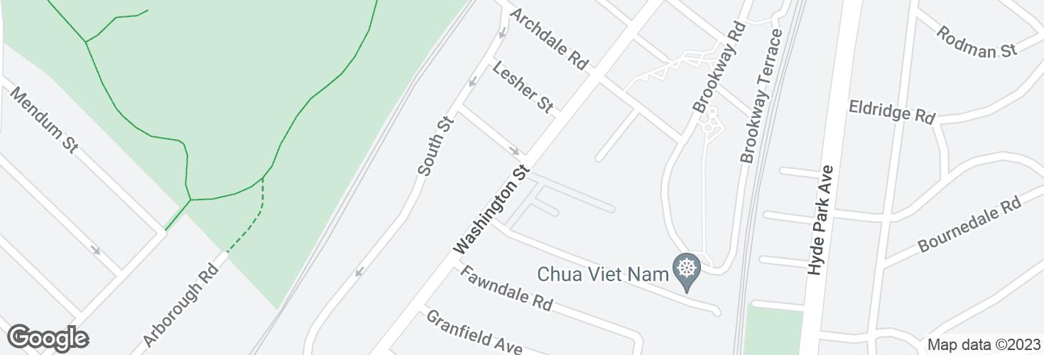 Map of Washington St @ Whipple Ave and surrounding area
