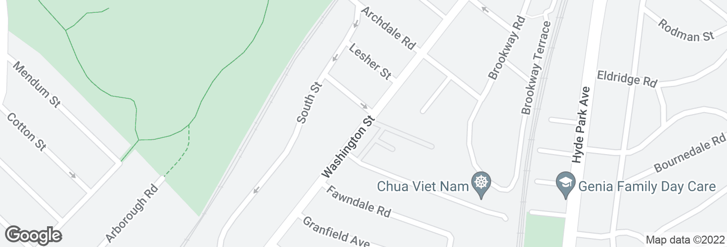 Map of Washington St @ Mosgrove Ave and surrounding area