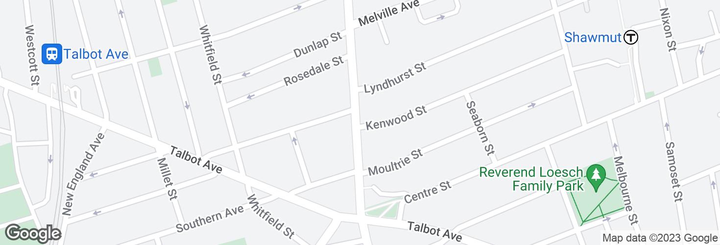 Map of Washington St @ Kenwood St and surrounding area