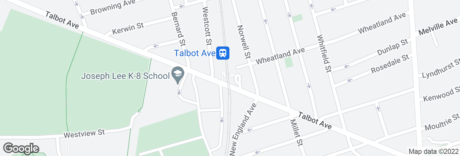 Map of Talbot Avenue and surrounding area