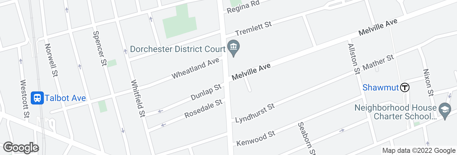 Map of Washington St @ Melville Ave and surrounding area