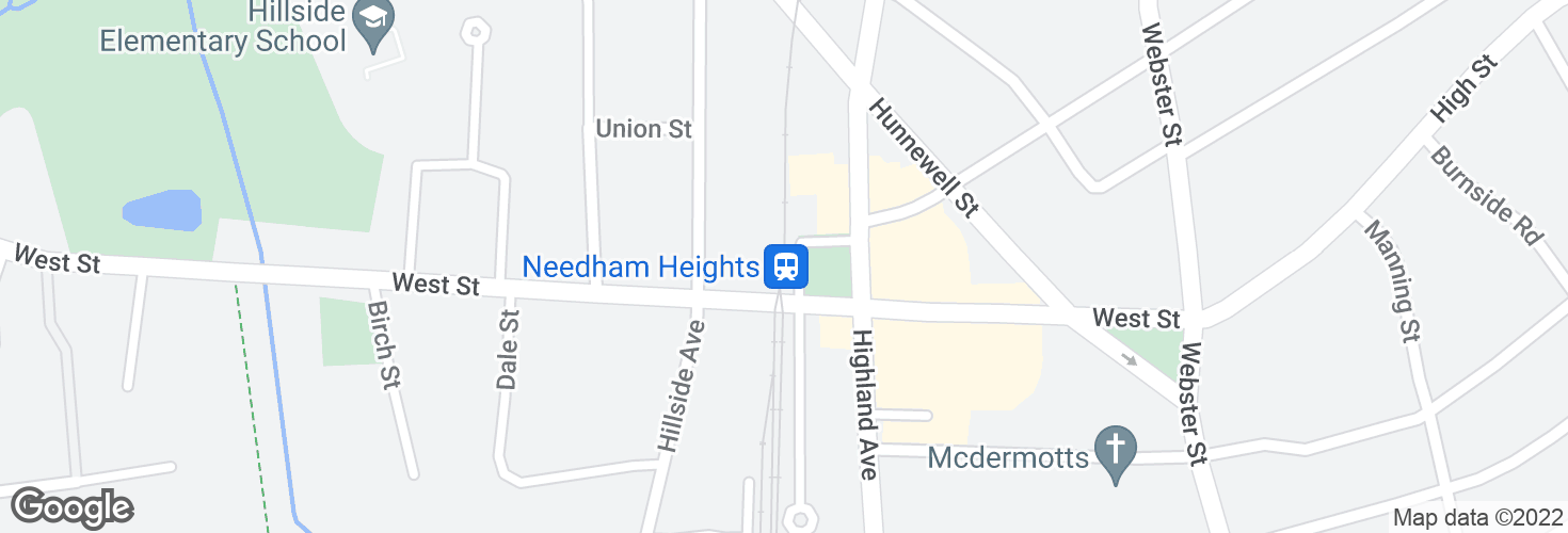Map of Needham Heights and surrounding area
