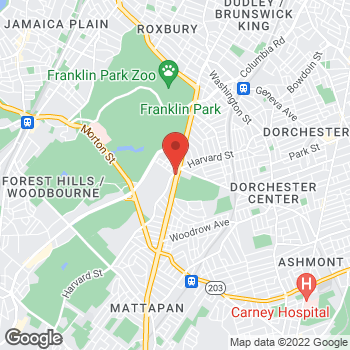 Map of Margaret Riley, MD at 895 Blue Hill Avenue, Dorchester, MA 02121