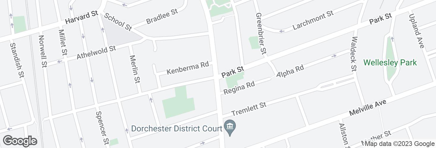 Map of Washington St @ Park St and surrounding area