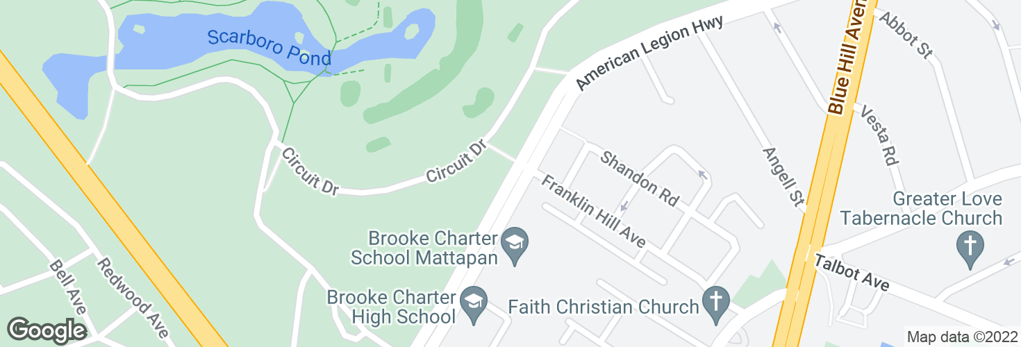 Map of American Legion Hwy opp Franklin Hill Ave and surrounding area