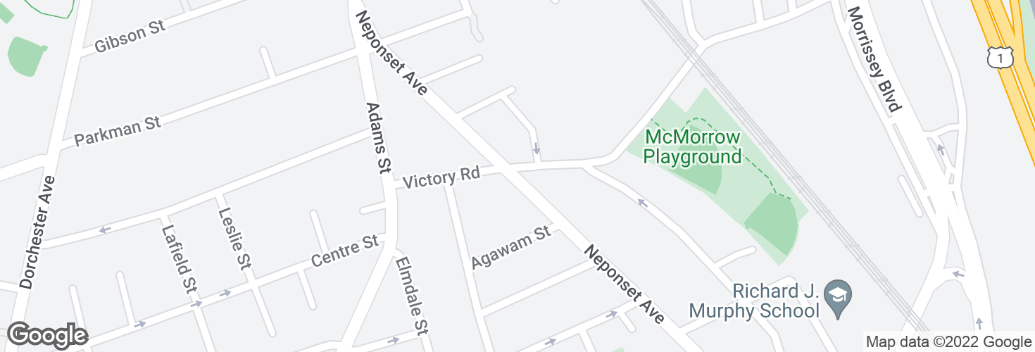 Map of Neponset Ave @ Victory Rd and surrounding area