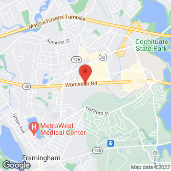 Map of Bertucci's Italian Restaurant at 150 Worcester Road, Framingham, MA 01702