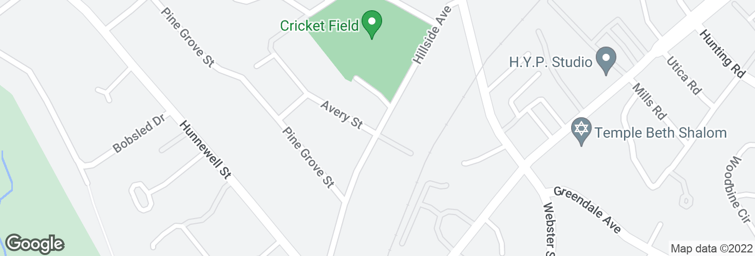 Map of Hillside Ave @ Avery St and surrounding area