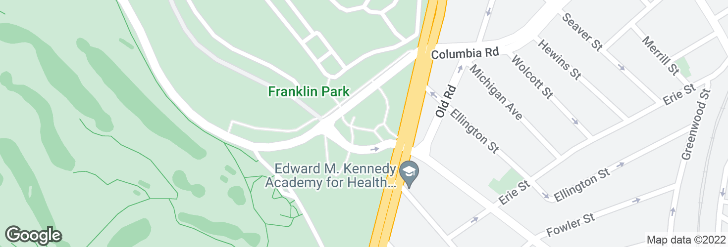Map of Franklin Park Loop @ Zoo entrance and surrounding area