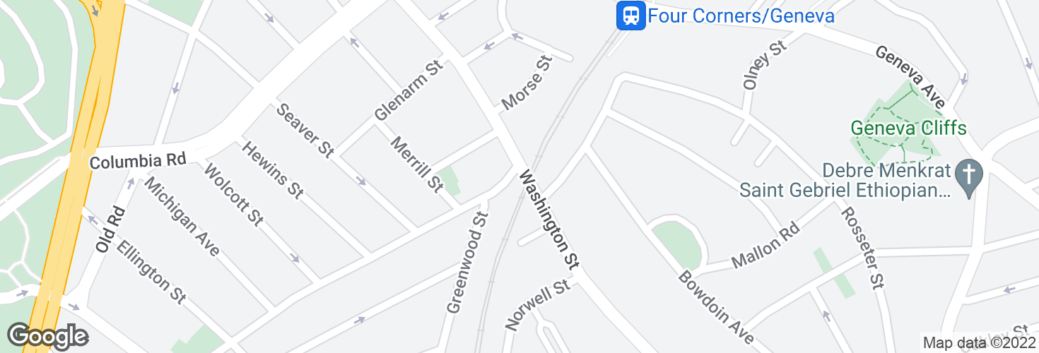 Map of Washington Street @ Four Corners / Geneva Station and surrounding area