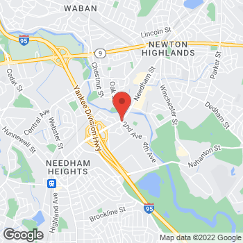 Map of Panera Bread at 120 Highland Avenue, Needham, MA 02494