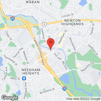 Map of Staples at 163 Highland Ave, Needham, MA 02494