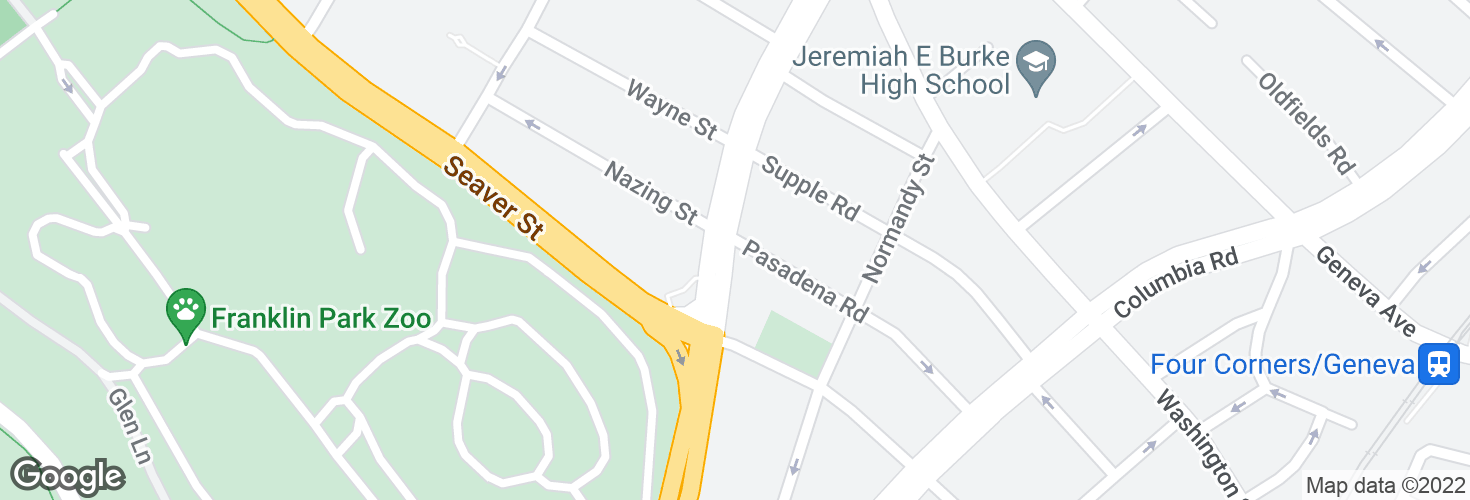 Map of Blue Hill Ave @ Pasadena Rd and surrounding area