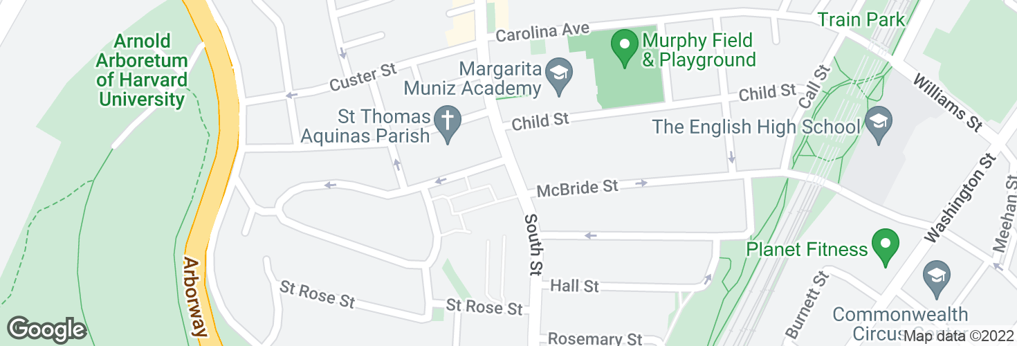 Map of South St @ Jamaica St and surrounding area
