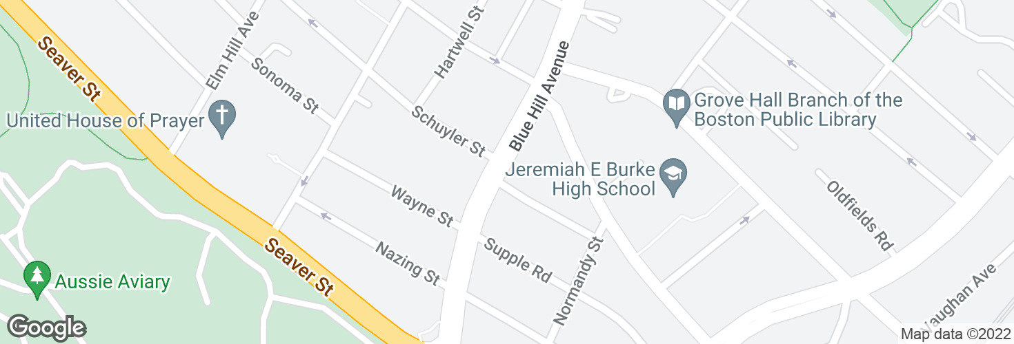 Map of Blue Hill Ave @ Castlegate Rd and surrounding area