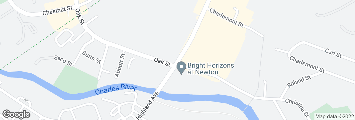 Map of Needham St @ Oak St and surrounding area