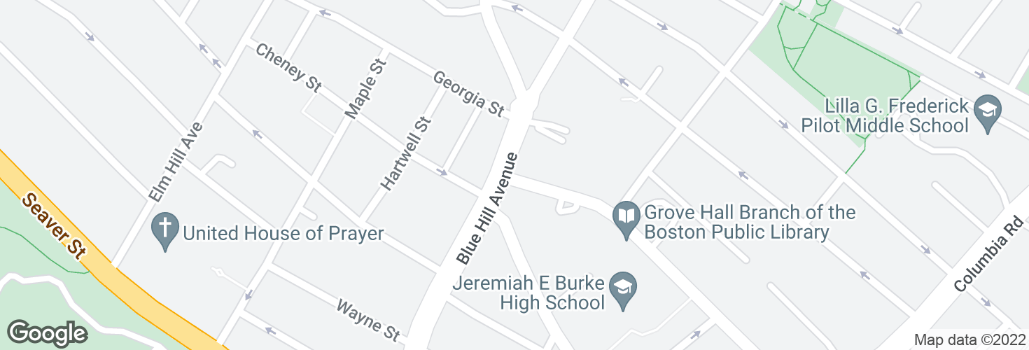 Map of Geneva Ave @ Blue Hill Ave and surrounding area