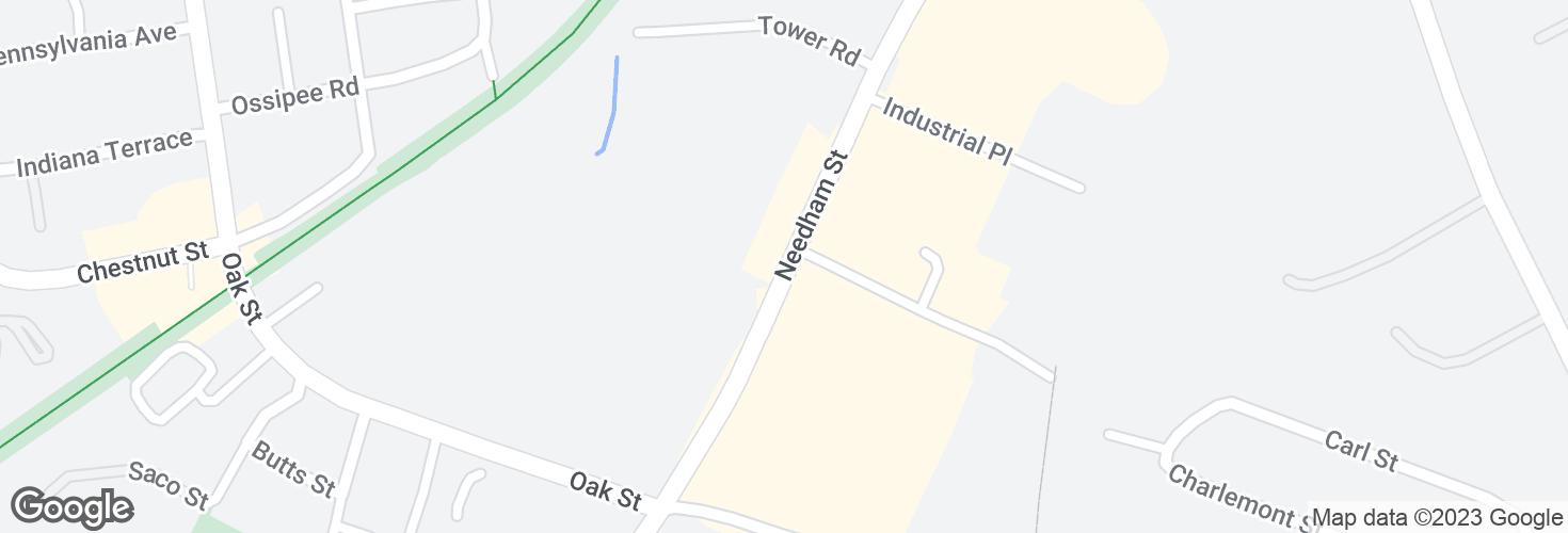 Map of Needham St opp Charlemont St and surrounding area