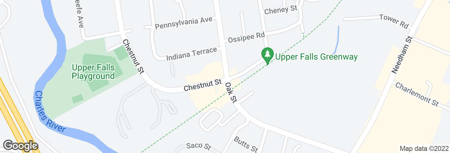Map of Oak St @ Chestnut St and surrounding area