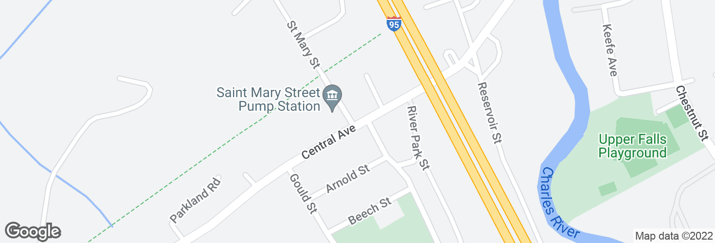 Map of Central Ave @ Saint Mary St and surrounding area