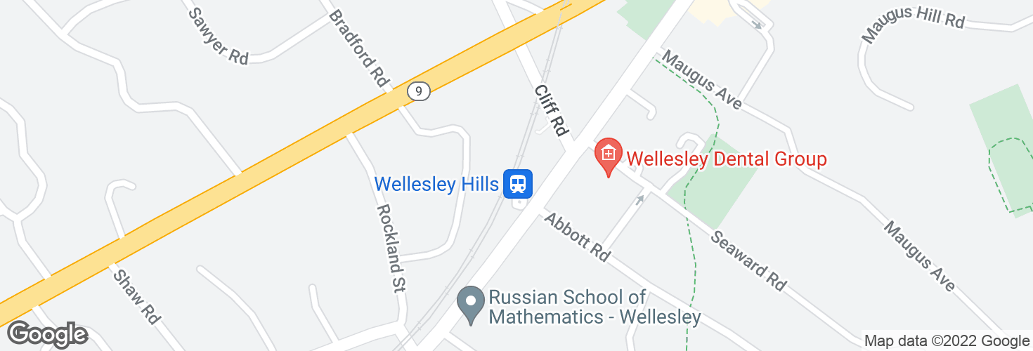 Map of Wellesley Hills and surrounding area