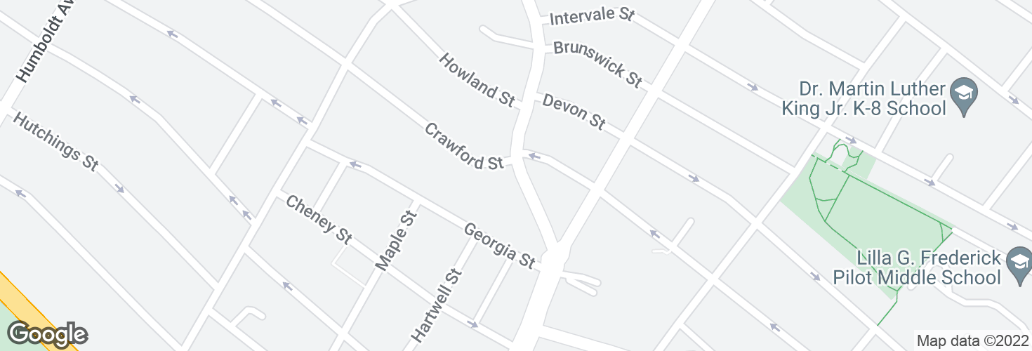 Map of Warren St @ Crawford St and surrounding area