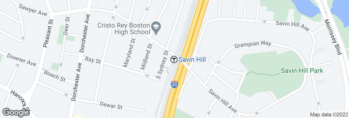 Map of Savin Hill and surrounding area