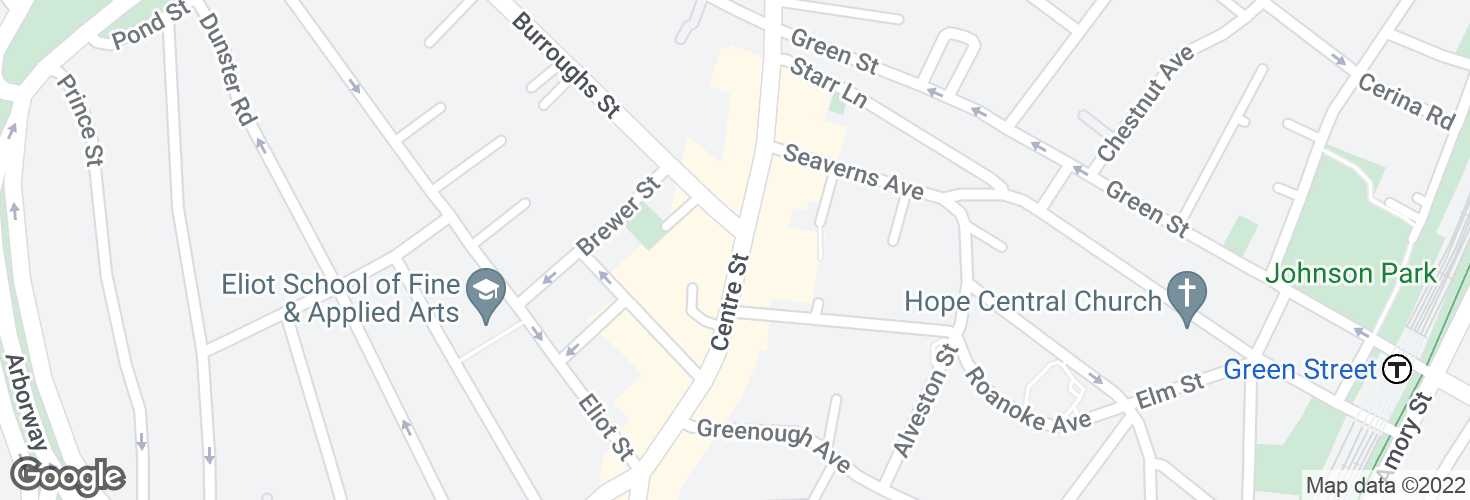 Map of Centre St @ Burroughs St and surrounding area