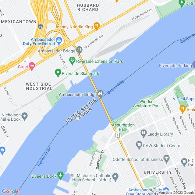 Map of Ambassador Bridge