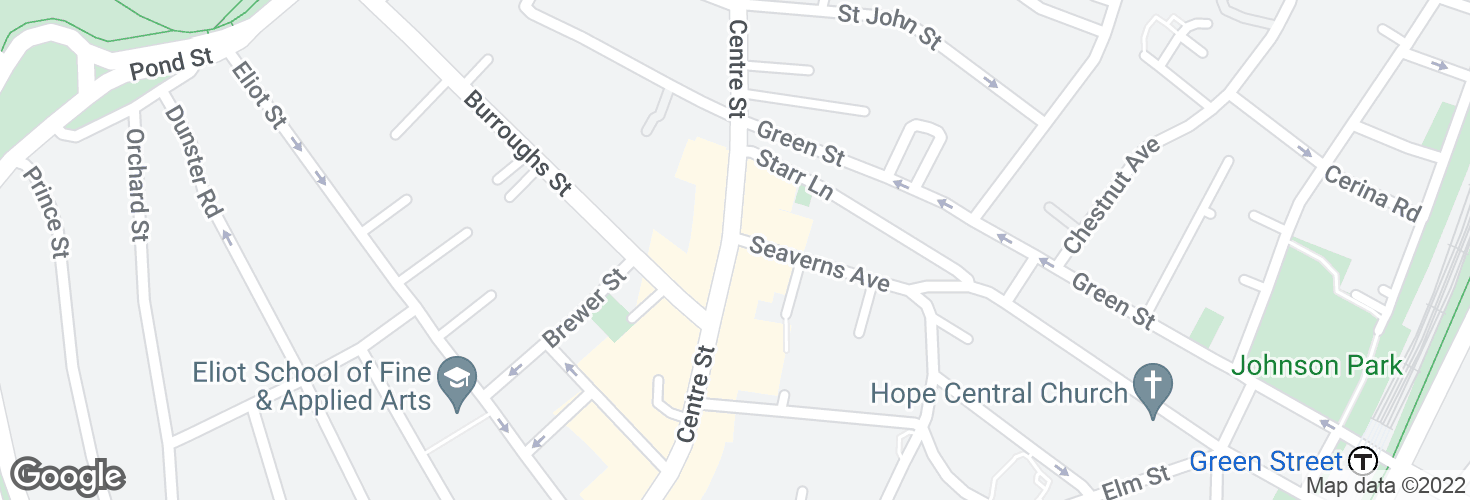 Map of Centre St @ Seaverns Ave and surrounding area
