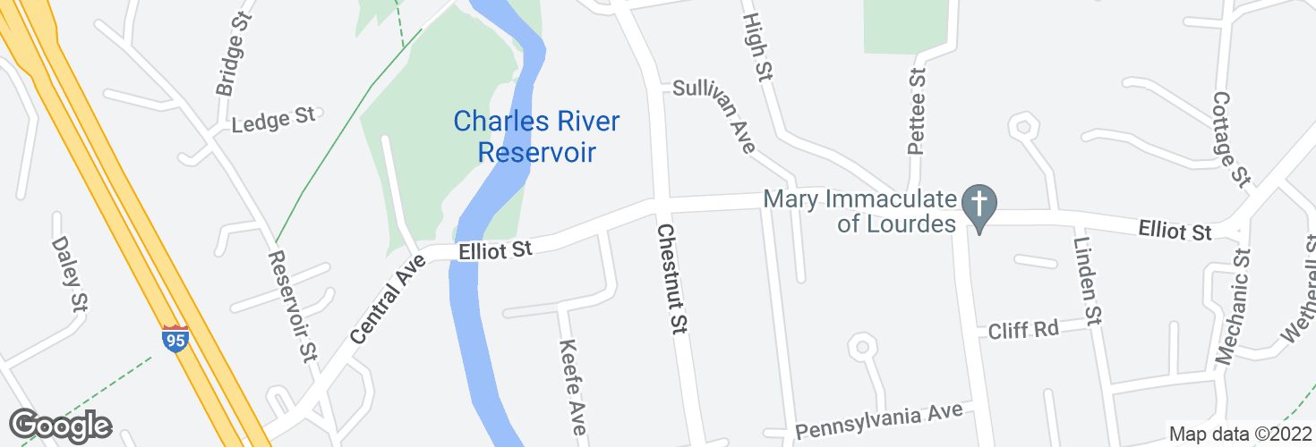 Map of Chestnut St @ Elliot St and surrounding area